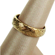 14K YG Basket Weave Comfort Fit Wedding Band Ring Size 6