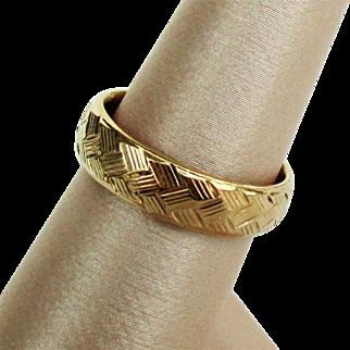 14K YG Basket Weave Comfort Fit Wedding Band Ring Size 6