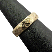14K YG Basket Weave Band Ring Size 6
