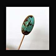 14K YG Stick Pin with Large Natural Turquoise Stone