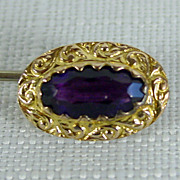 10K YG Beautiful  Amethyst Glass Stick Pin