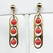 Genuine Salmon Pink Coral Earrings Set in 14K Gold