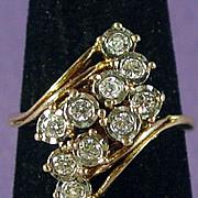 Appraised $1650, 14K Yellow Gold Diamond Waterfall Ring, Size 8
