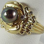 14K Yellow Gold Genuine Tahitian Cultured Pearl Ring Size 8