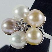 14K White Gold Cultured 9mm Multi-Colored Pearl & Diamond Ring Size 7 New-Old-Stock