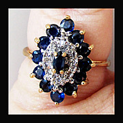 14K YG Sapphire & Diamond Ring, Size 6 3/4