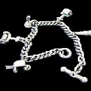 Vintage Silver Tone Charm Bracelet