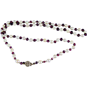 1940's Rhodolite Garnet Bead and Cultured Pearl Necklace with Vermeil Closure