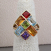 14K YG Multi-Colored Gemstone Ring, Size 5