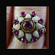 14K YG Opal and Ruby Ring, Size 8