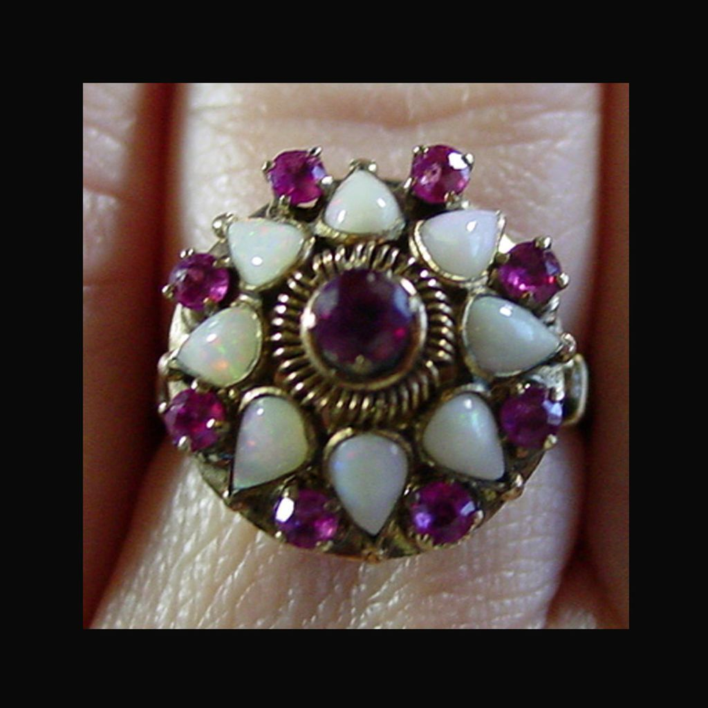 14k Yg Opal And Ruby Ring Size 8 From 4sot On Ruby Lane