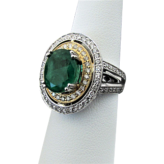 14K WG & YG Emerald & Diamond Ring Size7, 10.2 Grams