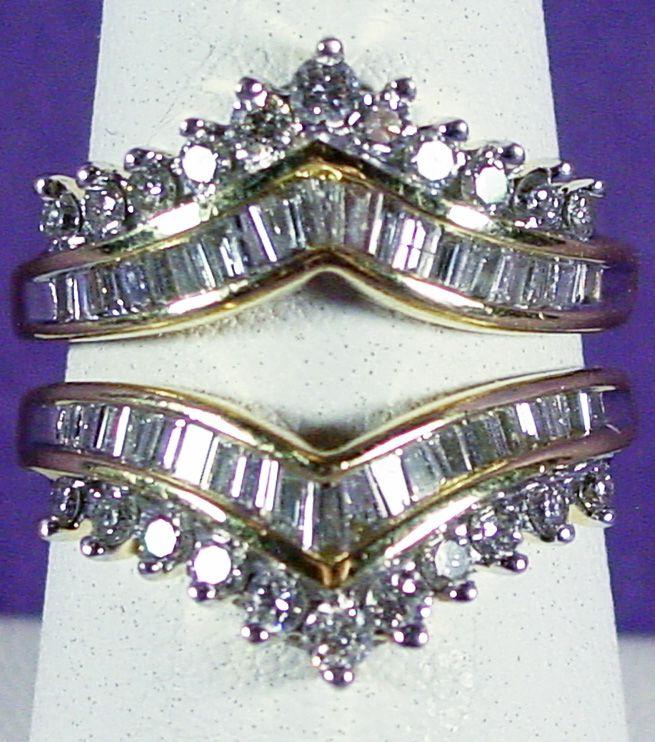 14k yellow gold diamond ring jacket wrap size 7 1 4 raised - Wedding Ring Jackets