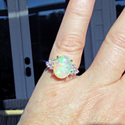14K Yellow Gold Australian Opal Ring, Size 7