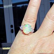 14K Yellow Gold Australian Opal Ring, Size 7
