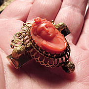 14K YG Antique Natural Coral Cameo Pin / Watch Holder