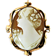10K YG Early 20th Century Carved Shell Cameo - Both Pin & Pendant