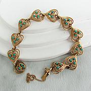 "14K YG Heart Design with Turquoise Art Glass Beads - Bracelet, 7 1/8"" Closed"