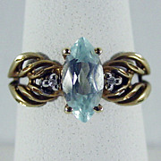 10K YG Sky Blue Topaz Ring Size 6 1/4