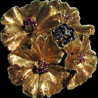 12 Grams, 18K YG Carl Bucherer Flower Brooch with Natural Gemstones
