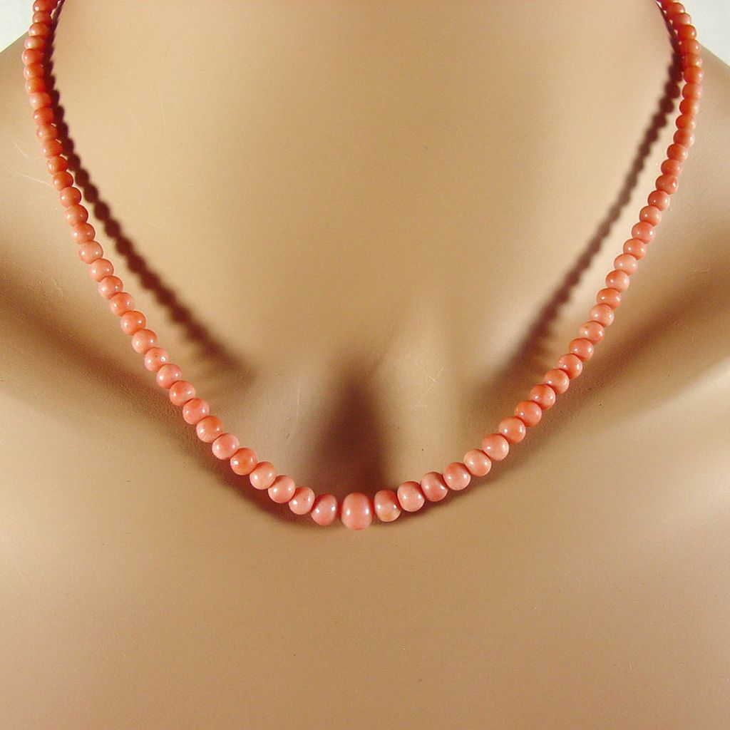 Natural Pink Salmon Coral Bead Necklace 18 Quot From 4sot On