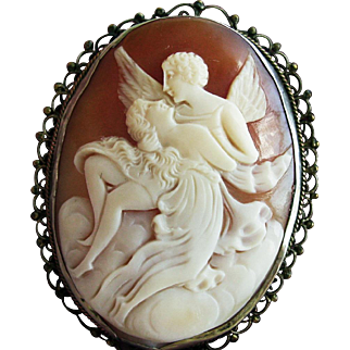 Cupid and Aphrodite Cameo in 800 Silver