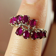10K White Gold Natural Ruby Ring Size 6