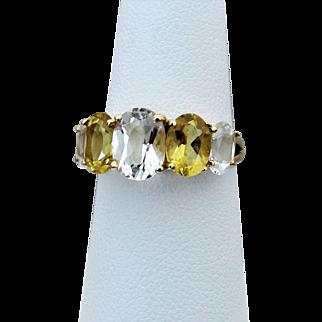 14K YG Goshenite & Heliodor Beryl Ring Size 6 1/4