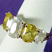 14K YG Fancy White & Yellow Beryl Ring Size 6 1/4