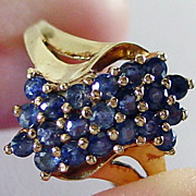 14K YG Bokeo Sapphire Cluster Ring Size 6 1/4
