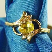 14K YG Yellow Sapphire Ring Size 6 1/4