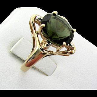 10K Yellow Gold Moldavite Ring, Size 7