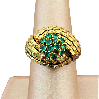 7.40 Grams, 18K YG Emerald Cluster  Ring Size 7 1/2