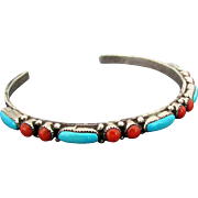 Sterling Silver Cuff with Turquoise & Red Coral