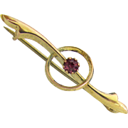 9K Gold Lingerie / Collar Pin with Pink Foil Stone