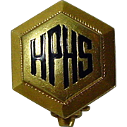 "Rare 1915, 14K YG Dieges & Clust Pin with ""HPHS"""