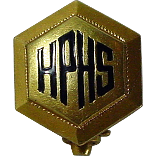 """Rare 1915, 14K YG Dieges & Clust Pin with """"HPHS"""""""