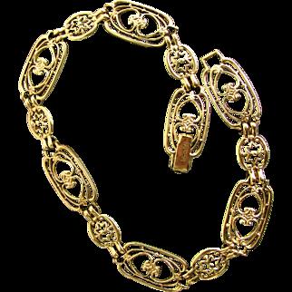 "10K YG Decorative Open Link Bracelet 7 1/4"" Closed"