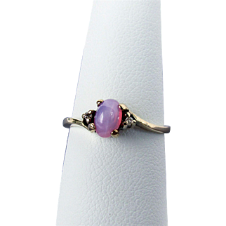 10K YG Pink Star Sapphire Ring, Size 7