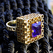 11.74 Grams, 14K YG and Amethyst Cube Ring Size 7