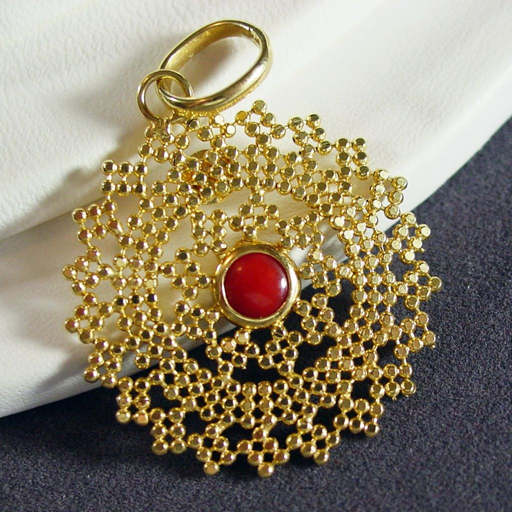 14k yellow gold gold beads pendant with red coral the strands of 14k yellow gold gold beads pendant with red coral the strands of time ruby lane aloadofball Choice Image