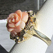 14K YG Hand Carved Natural Angel Skin Coral Ring Sz 6.25
