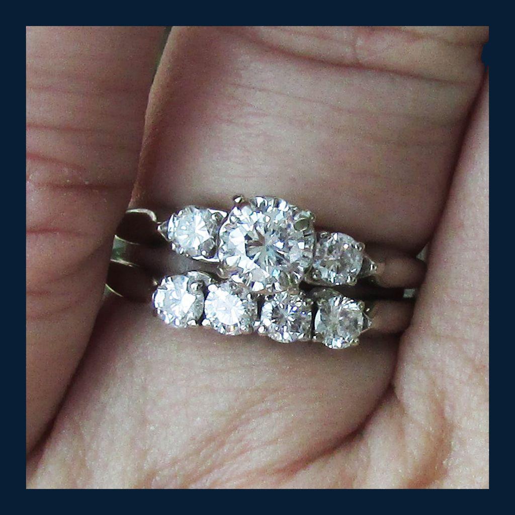 14k White Gold Blu Ray Diamond Wedding Set Size 7 1 2 Sold Ruby Lane