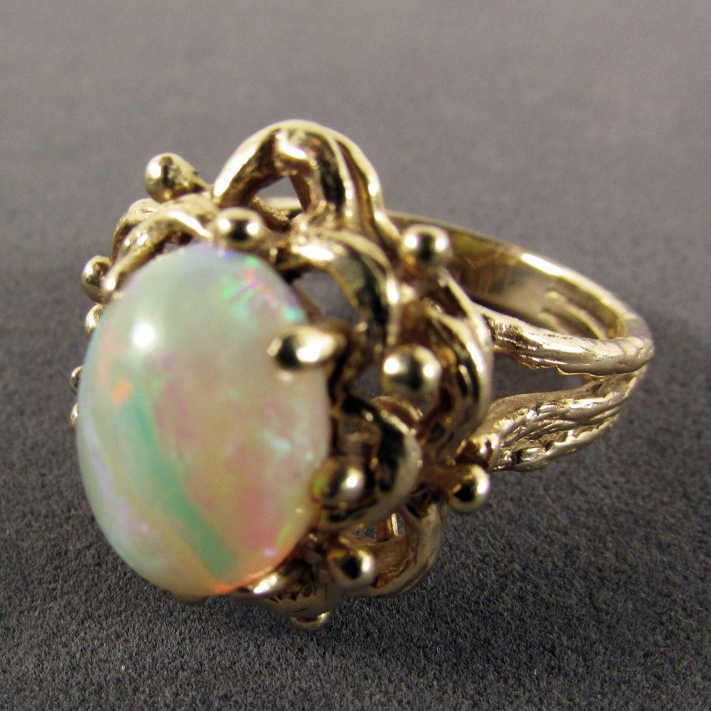 14k yellow gold ribbon pattern opal ring size 8 from