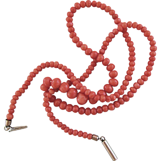 "19"" Natural Coral Bead Necklace"