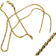 14K YG Italian Glitter Chain Necklace, 18 Inches