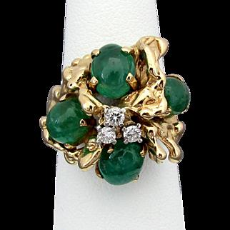 12.9 Grams, 14K YG Emerald Cabochon & Diamond Ring Size 6