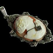 Cameo Pendant with Diamond