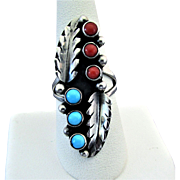 Sterling Silver Native American Ring with Turquoise and Red Coral