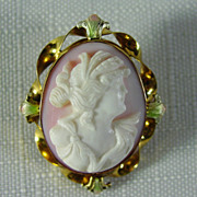 10K Hand Carved Shell Cameo Pin / Pendant with Pink & Green Enamel
